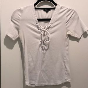 White Lace Up T-Shirt